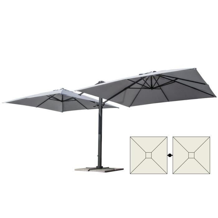 parasol de jardin 3x3 bras double m t double en aluminium bar h tel contrat oslo achat vente. Black Bedroom Furniture Sets. Home Design Ideas