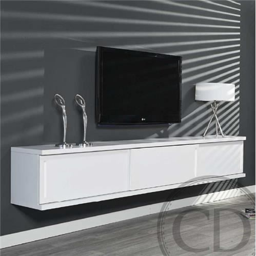 Meuble tv suspendu laqu blanc design achat vente for Meuble tv blanc laque