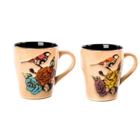 lot de 2 tasse mug oiseau en c ramique achat vente bol mug mazagran cdiscount. Black Bedroom Furniture Sets. Home Design Ideas