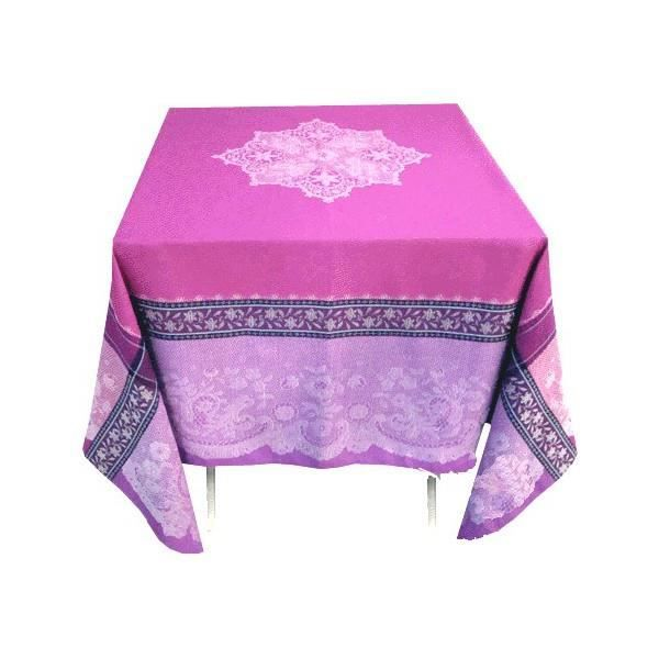 Nappe jacquard trait e t flon carr 1m60 dentelle - Nappe de table carre ...