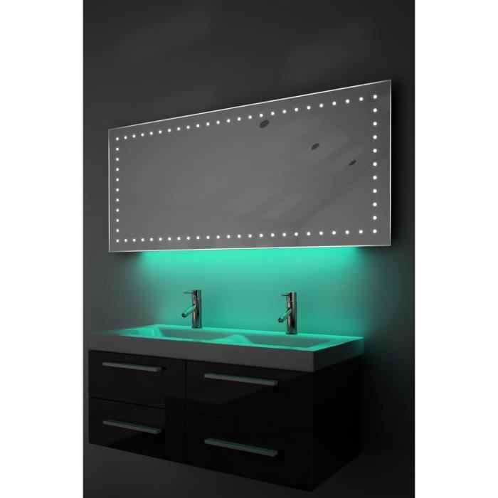 miroir de rasage salle de bain lumi re d ambiance del anti bu e capteur k175t turquoise. Black Bedroom Furniture Sets. Home Design Ideas
