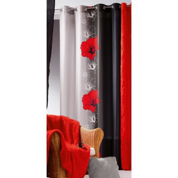 rideau oeillets 140x240 maeva rouge noir achat vente rideau cdiscount. Black Bedroom Furniture Sets. Home Design Ideas