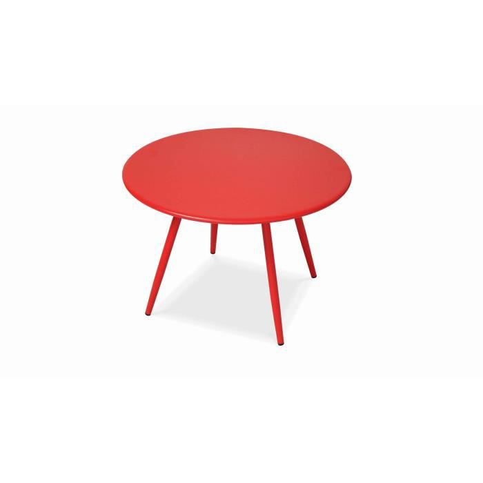 Table basse de jardin ronde rouge Diamètre 40 cm