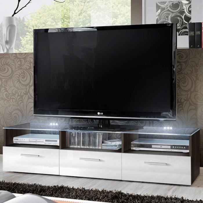 paris prix meuble tv design fresh 150cm blanc noir. Black Bedroom Furniture Sets. Home Design Ideas