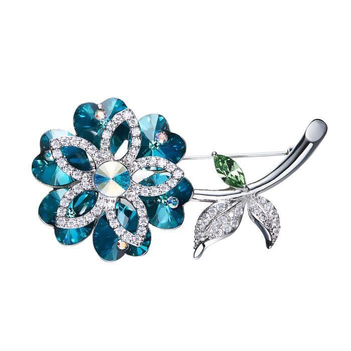 Fablcrew Broche bijoux Petite broche fleurie color/ée Bijoux Fantaisie Femme Broche Cristal Strass Fleur