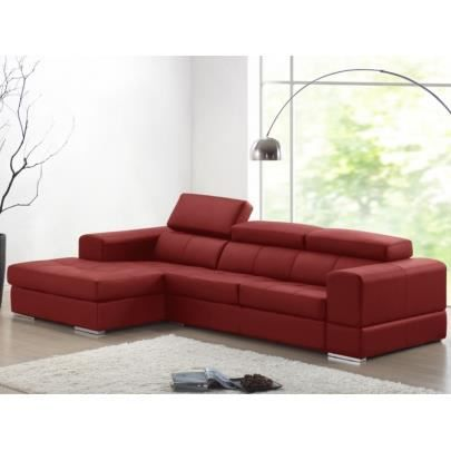 Canap d 39 angle cuir baldini ii rouge angle gau achat vente canap sofa divan cuir for Canape d angle cuir rouge