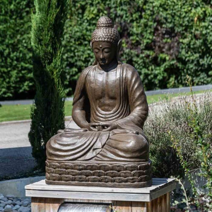 STATUE - STATUETTE Statue jardin Bouddha assis - Fibre de verre