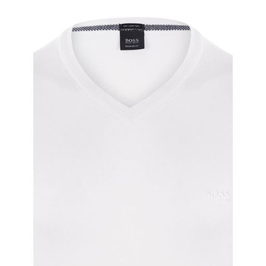 HUGO BOSS Pull Col V - Homme - Blanc Ecru - Achat   Vente pull - Soldes   dès le 9 janvier ! Cdiscount cb5314f96ed6