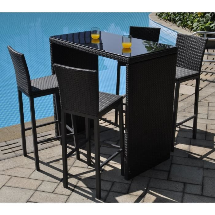 riverside set bar 4 places aluminium et r sine tress e noir achat vente salon de jardin. Black Bedroom Furniture Sets. Home Design Ideas