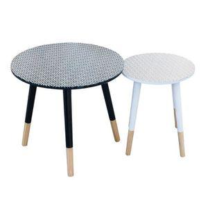 diamante lot de 2 tables basses gigognes motif