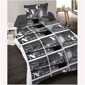 housse de couette 200 200 new york achat vente housse de couette 200 200 new york pas cher. Black Bedroom Furniture Sets. Home Design Ideas