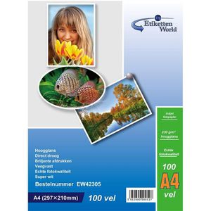 PAPIER PHOTO EtikettenWorld 100feuilles de papier photo A4230