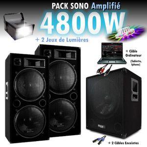 PACK SONO PACK SONO DJ 4800W CUBE 1512 avec CAISSON + ENCENT