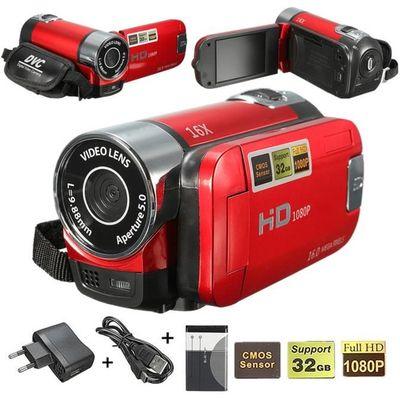 NEUFU 16MP CMOS 16X Zoom 2.7'' FHD 1080P LCD DV Digital Vidéo Caméra Caméscope Numérique Rechargeable Cadeau Rouge