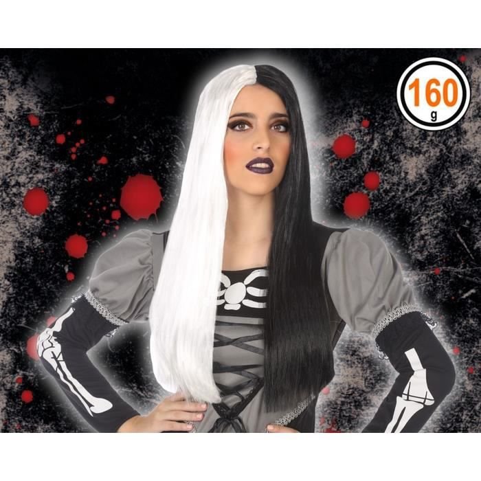 ATOSA - Perruque Halloween Adultes Femmes - Noir et blanc