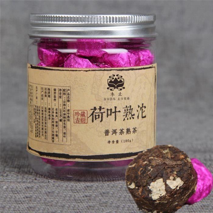 China Yunnan Puer tea Lotus Puerh Tuocha Small canned lotus leaf Pu er ripe tea 100g (0.22LB) organic tea Pu'er tea Black tea Chin