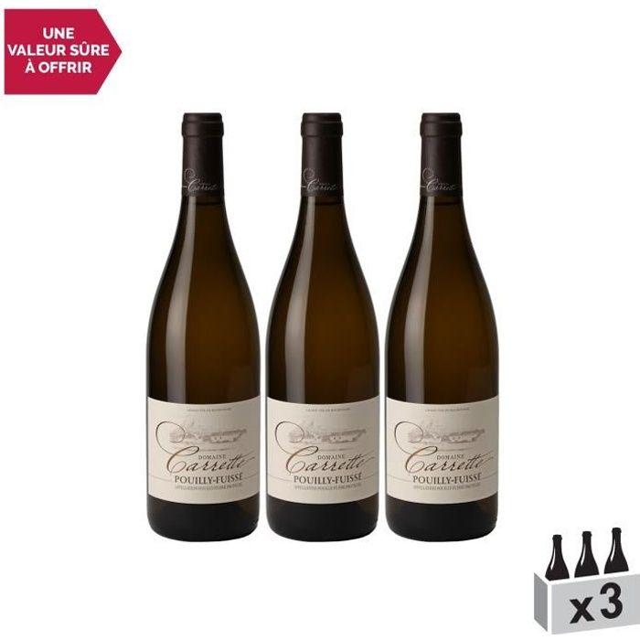 Pouilly-Fuissé Blanc 2019 - Lot de 3x75cl - Domaine Carrette - Vin AOC Blanc de Bourgogne - Cépage Chardonnay