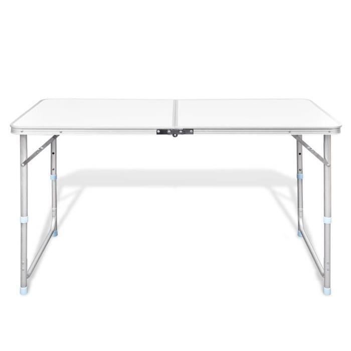 KAI Table pliable de camping Hauteur réglable Aluminium 120x60 cm