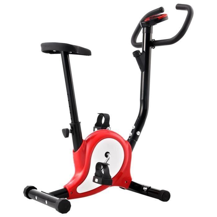 FIHERO Vélo d'appartement avec résistance à courroie Rouge