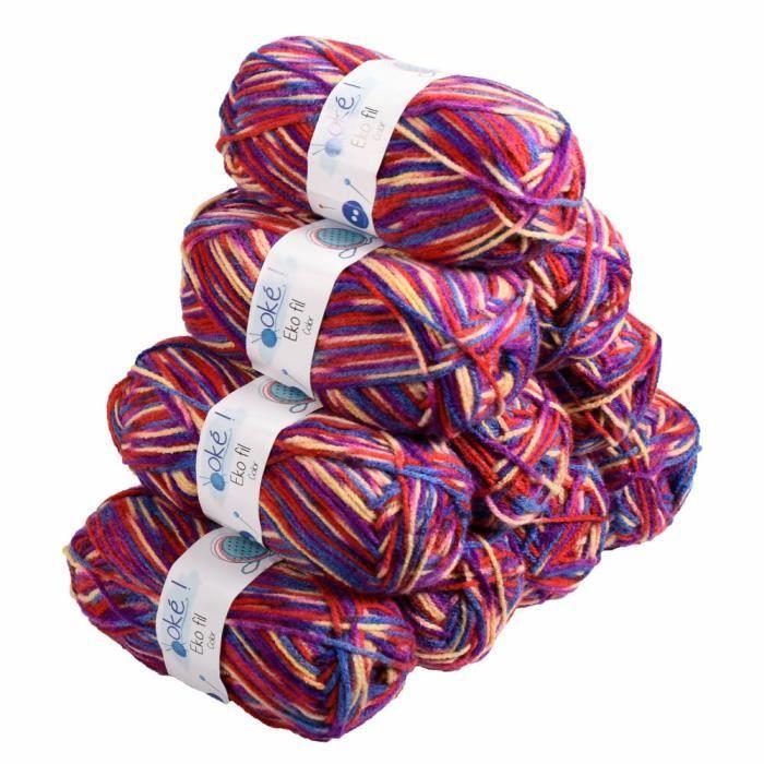 100 g boule bleu lilas crème chiné épais Double Laine à Tricoter Acrylique DK Doux fils
