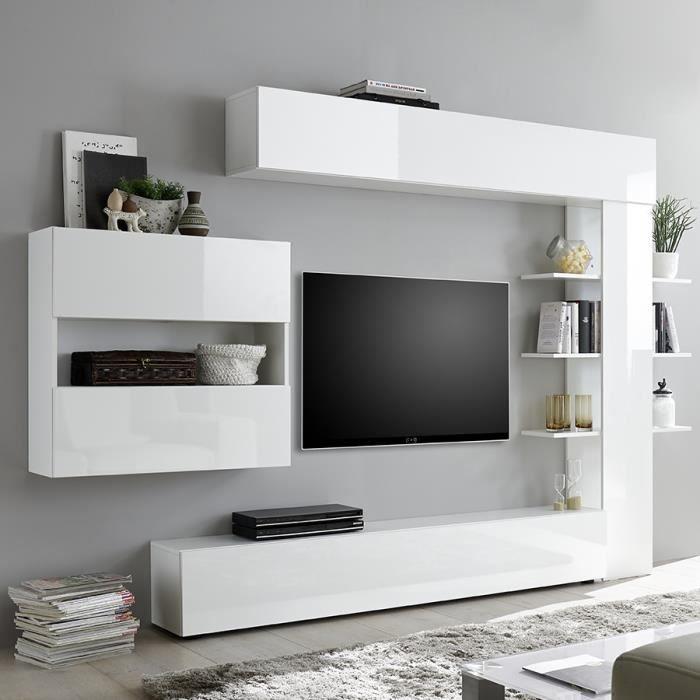 Ensemble meubles tv blanc laqué design FINO Blanc L 257 x P 30 x H 187 cm