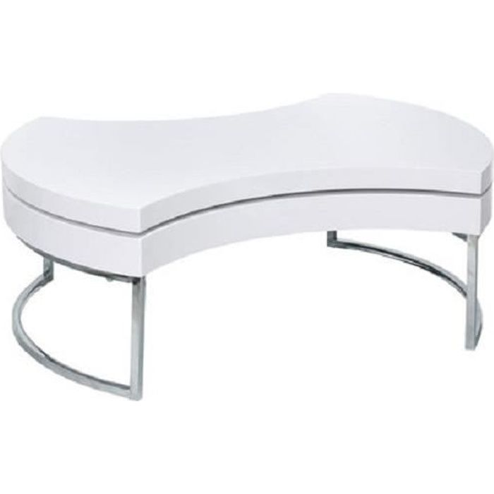 Table Basse Luna laqué Blanc