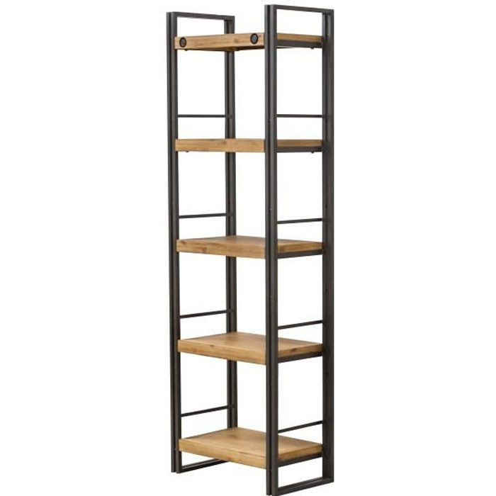 Bibliothèque 5 étagères design style industriel en métal et bois d'acacia - finitions soignées – Collection Workshop
