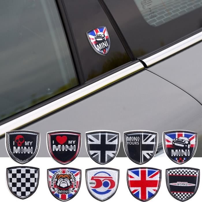 Autocollants en métal pour Mini BMW Cooper Countryman Clubman F54 F55 F56 R55 R56 R60 F60, accessoires de v Flower white -WGHY1709