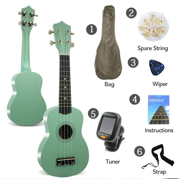 Cadeau 21 -ukulélé Soprano palissandre acoustique Nylon 4 cordes ukulélé basse guitare Instrument de musique  - Type Green