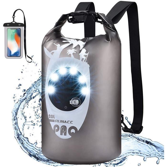 Sacs Etanche 20L avec Lumière De Camping à Chargement USB et SolaireSac Sec et étui de Téléphone étanche pour Le Kayak-Le Bateau-L