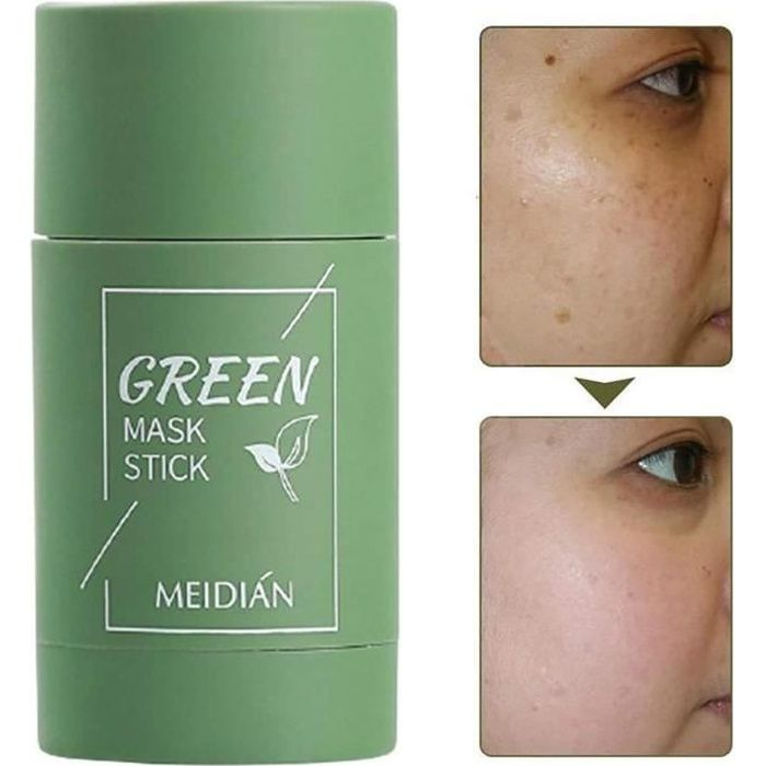 Green Mask Stick,Green Tea Purifying Clay Stick Mask, Oil Control Deep Cleaning Moisturizing Mask pour Les Femmes Hommes