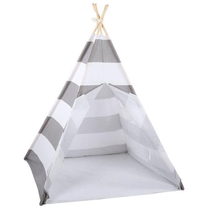 AYNEFY Tente de tipi Tente de jeu pour enfants Tipi pour enfants Maison de jeu extérieure portable 120 * 120 * 145cm (gris blanc)
