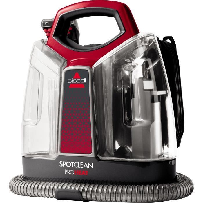 BISSELL 36988 Spotclean Pro Heat - Nettoyeur sol à eau portatif - 2 réservoirs 1,1L et 1,4L - Brosse 8cm - Technologie Heatwave