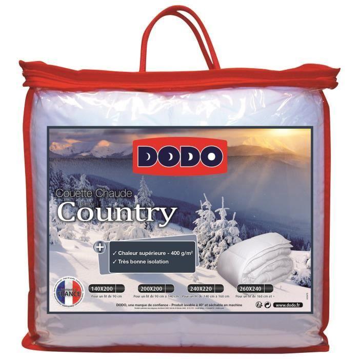 DODO Pack COUNTRY 240x260cm - 1 couette chaude 240x260cm et 2 oreillers 60x60cm blanc