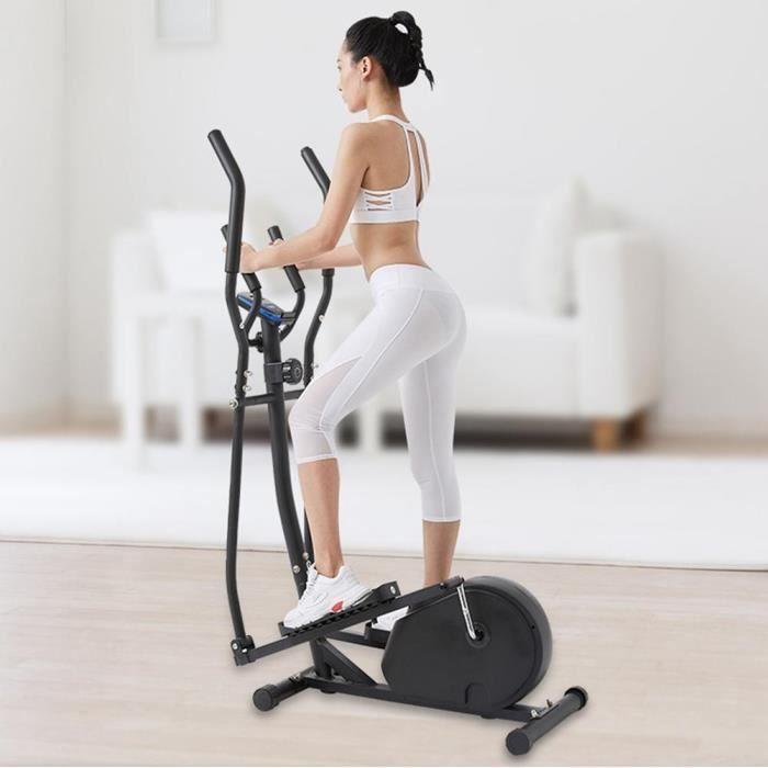 Vélo elliptique,vélo d'entraînement statique et elliptique, 2 guidons, écran LCD et moniteur de fréquence cardiaque -HEG