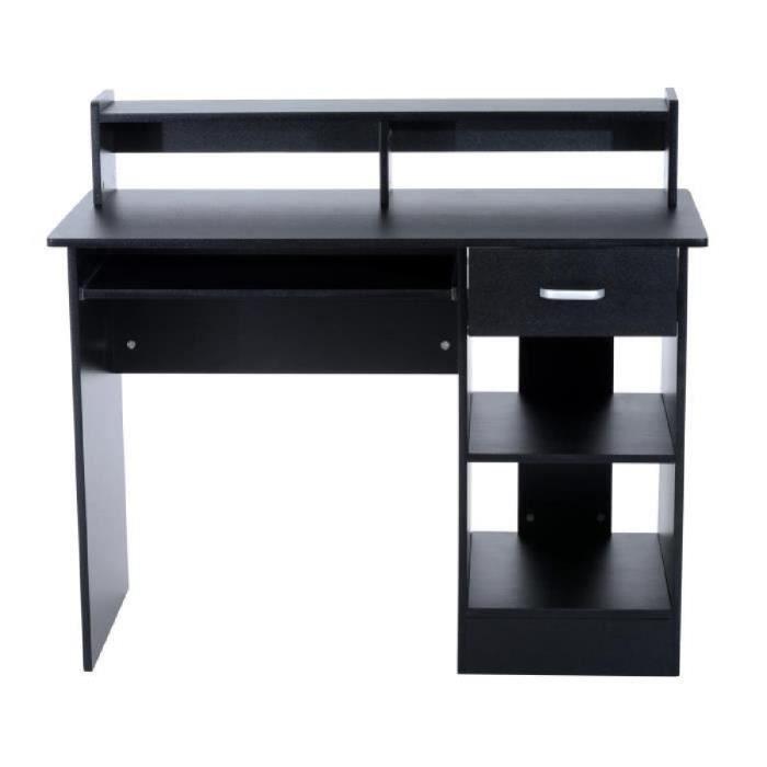 Bureau informatique multi-rangement tiroir et tablette coulissants, double niche et étagère design 106L x 50l x 94H cm noir neuf ...