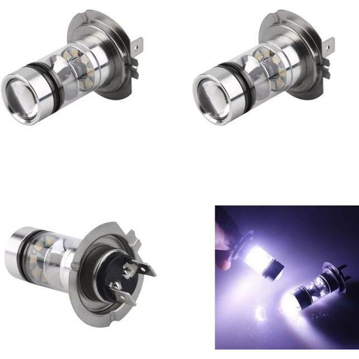 2pcs H7 100W 12V LED haute puissance Les phares automatiques de DRL LED pour des ampoules de projecteur de voitures HID 6000K