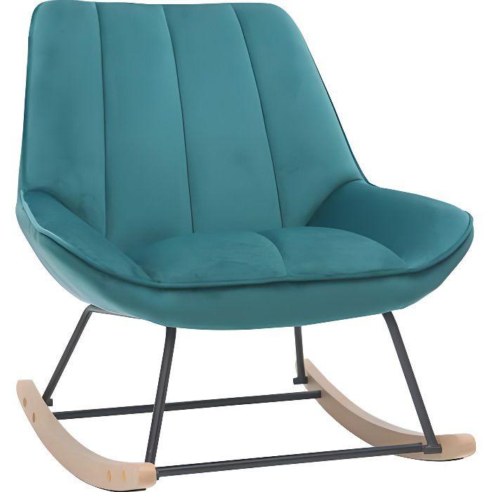 Miliboo - Rocking chair design en velours bleu pétrole BILLIE