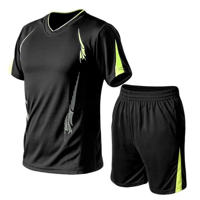 Ensemble de Sports Homme T-Shirt Grand Taille Manches Courte+Shorts Taille Élastiquée Vêtements Homme de Running-Fitness