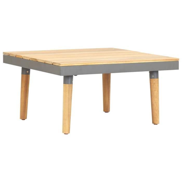 Table basse design scandinave salon contemporain de jardin 60x60x31,5 cm Bois solide d'acacia