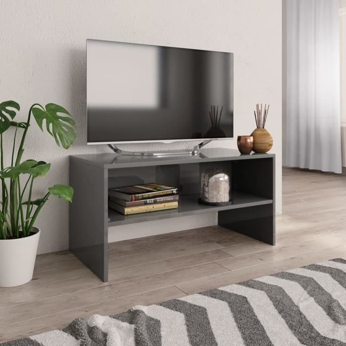 Meuble TV-contemporain Meuble salon Banc TV Gris brillant 80 x 40 x 40 cm Aggloméré