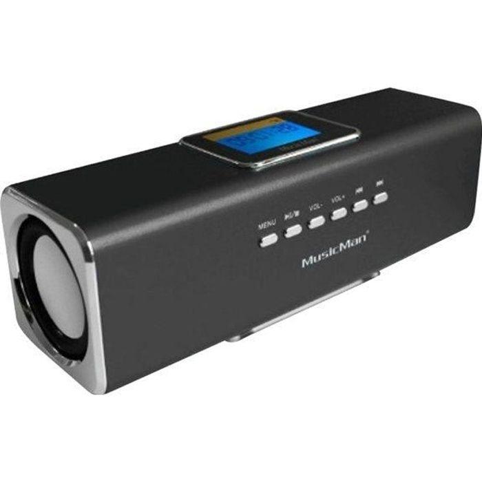 MUSICMAN MA DISPLAY SOUNDSTATION Enceinte portable avec écran, lecteur MP3 et radio intégrée - Noir