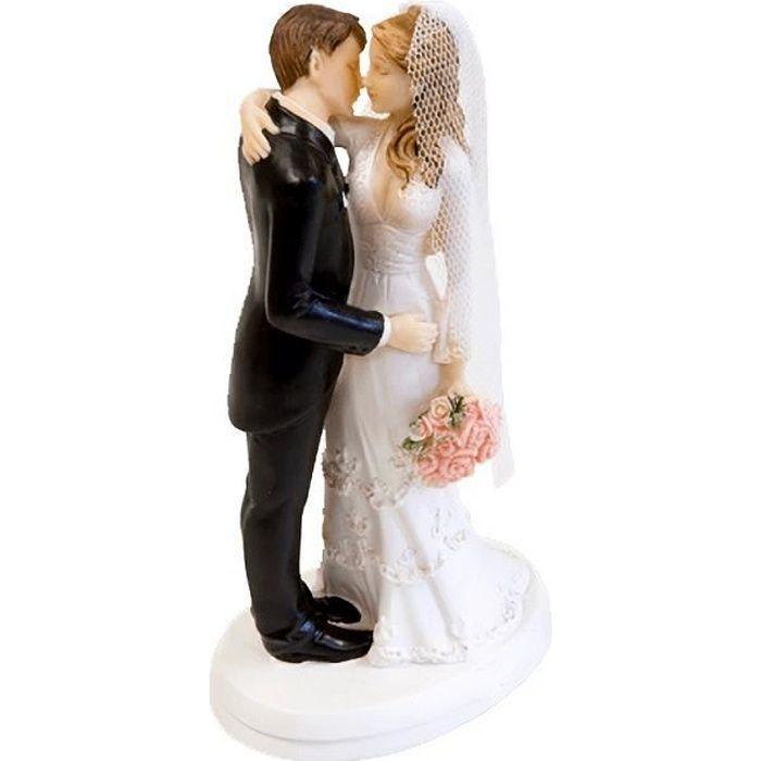 Décoration gâteau de mariage avec couple de mariés élégant (x1) R/SUJ4974