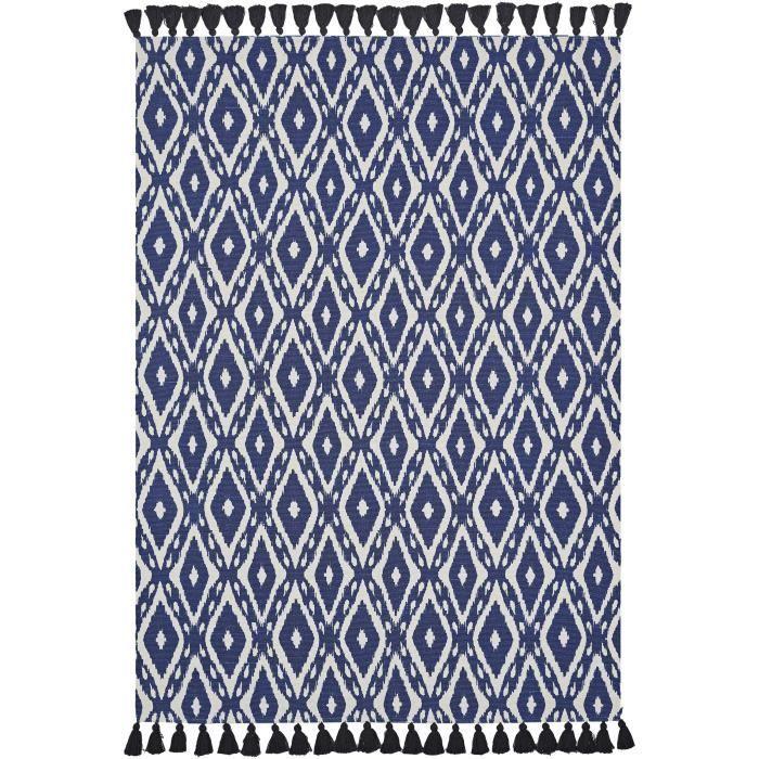 TODAY Tapis de salon Atmosphère 100% coton - 120x170 cm - Bleu et blanc