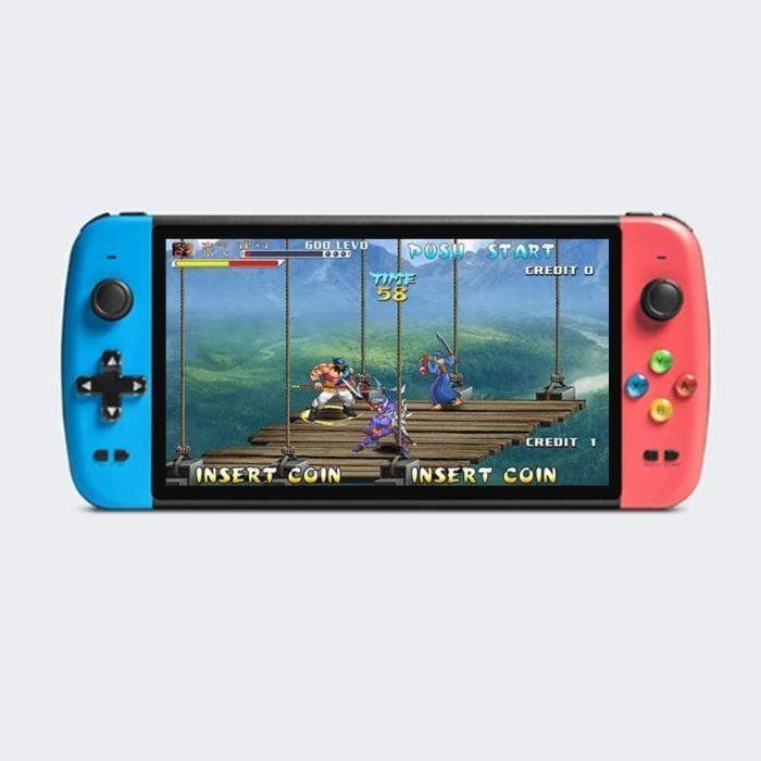 Console de Jeu Quad-Core 7 Pouces Le Double Joystick précis Prend en Charge Plusieurs émulateurs 9000 Jeux intégrés Sortie(Bleu-Roug