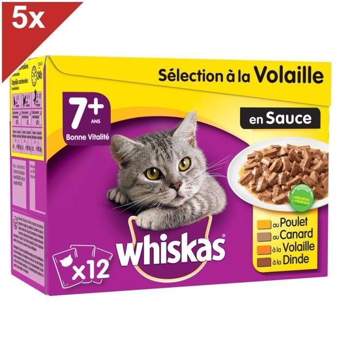 WHISKAS 60 Sachets fraîcheur sauce sélection volaille chat senior 100g (5x12)