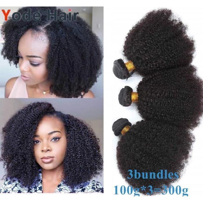 10-10-10- Mongolian Afro Kinky Curly Cheveux Humains 3 Bundles 100g-pcs Couleur Naturelle