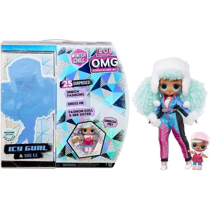 Figurine L.O.L. Surprise! O.M.G. Winter Chill ICY Gurl Poupée Mannequin & Poupée Brrr B.B. avec 25 Surprises