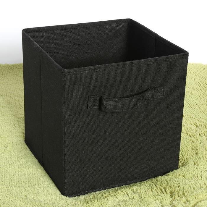 6 Pcs Tiroir de rangement boîte de rangement Bac de rangement en tissu - Noir