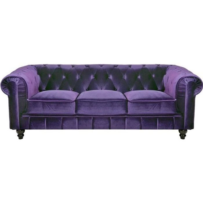 canap 3 places velours violet chesterfield achat. Black Bedroom Furniture Sets. Home Design Ideas